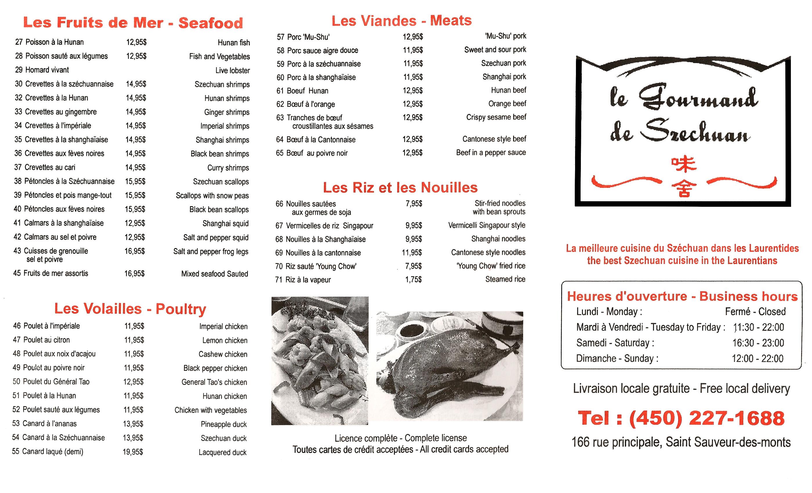 Menu restaurant le gourmand de szechuan black jacky for Restaurant le jardin neufchatel menus